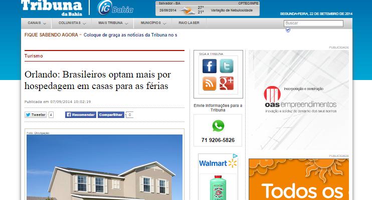 Tribuna da Bahia afirma: Brasileiros optam por hospedagem em casas em Orlando